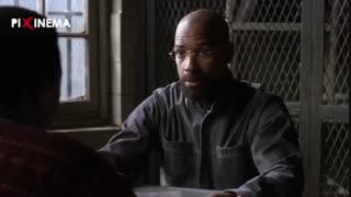 سکانس فیلم توفان ، ملاقات روبین (دنزل واشنگتن) با یکی از خوانندگان کتابش در زندان