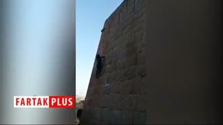 صعود با دست خالیِ مرد میمون نما به بالای قلعه!
