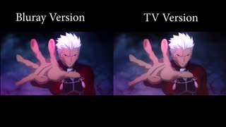 مقایسه مبارزه Archer با Lancer از انیمه Fate/Stay Night: Unlimited Blade Works در نسخههای بلوری Blu-ray و تی وی TV